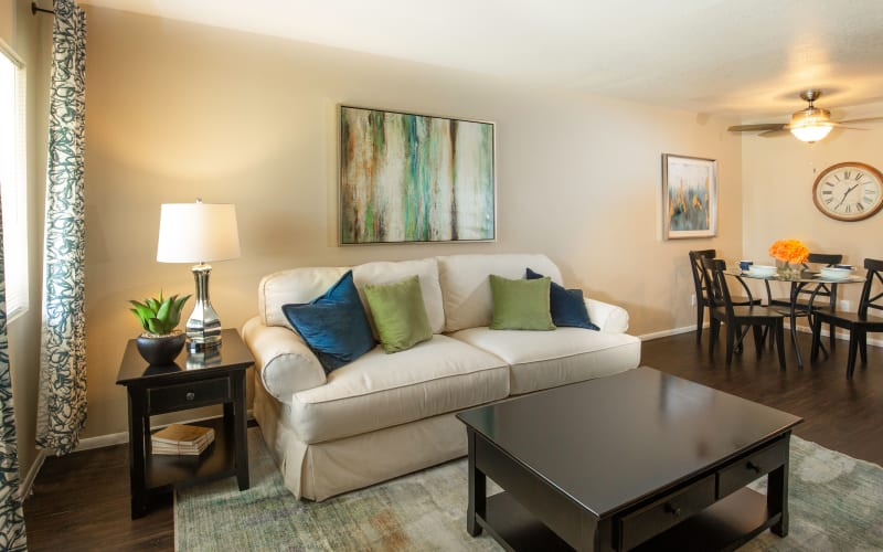 A cozy living room at Callaway Apartments in Taylorsville, Utah