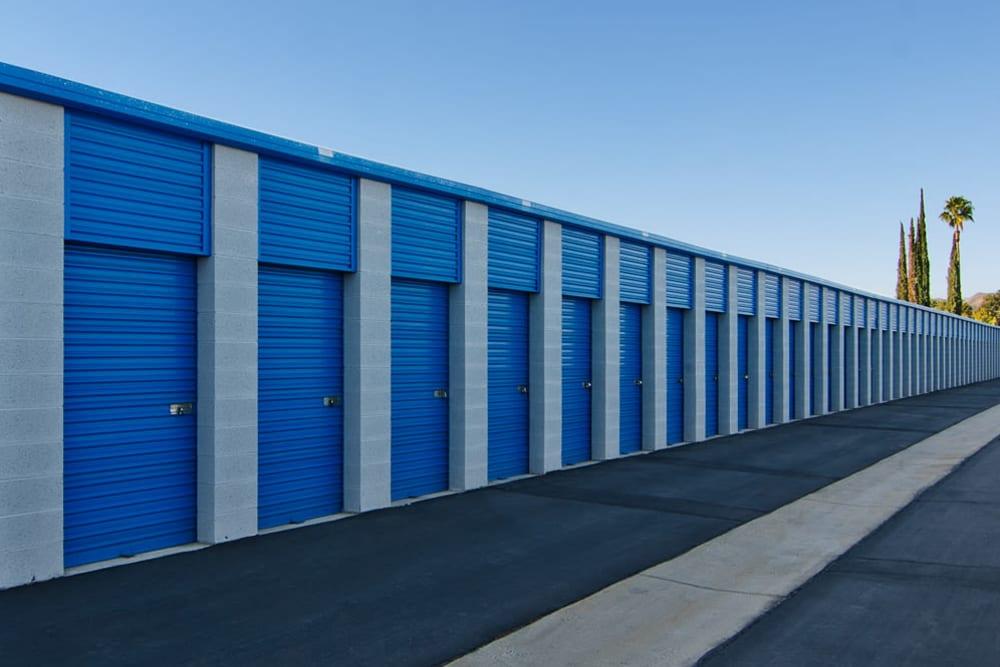 Outdoor storage units at A-American Self Storage in Hemet, California