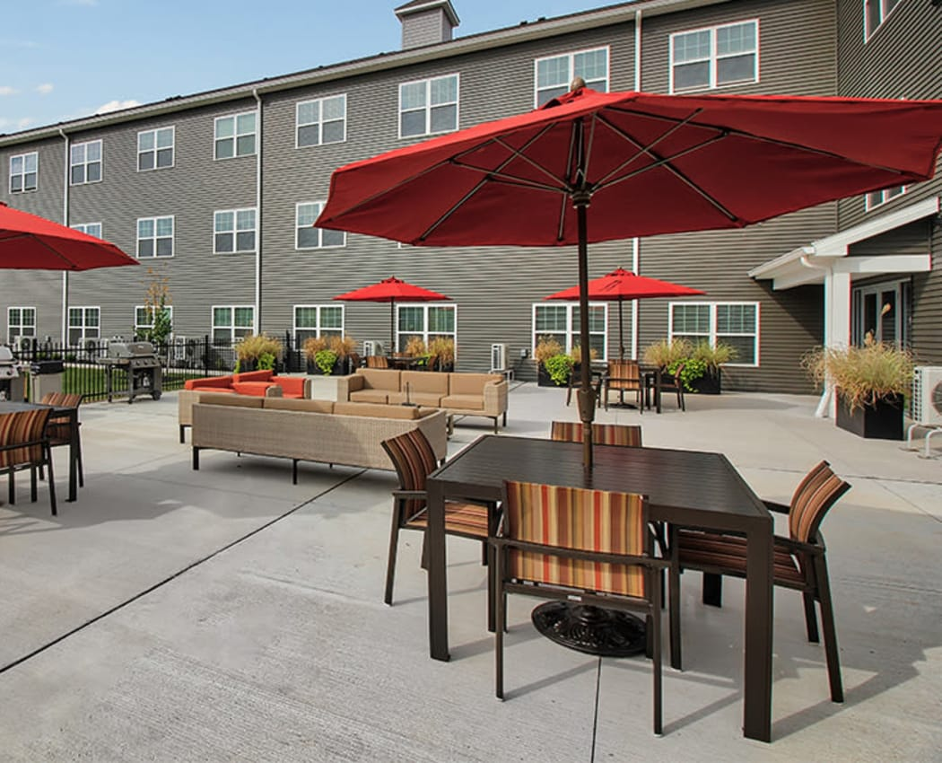 Patio area at Village Heights Senior Apartments in Fairport, New York