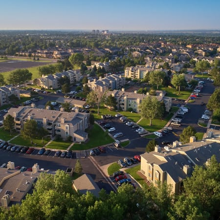 Aerial photo of property and surrounding areas of Alton Green Apartments in Denver