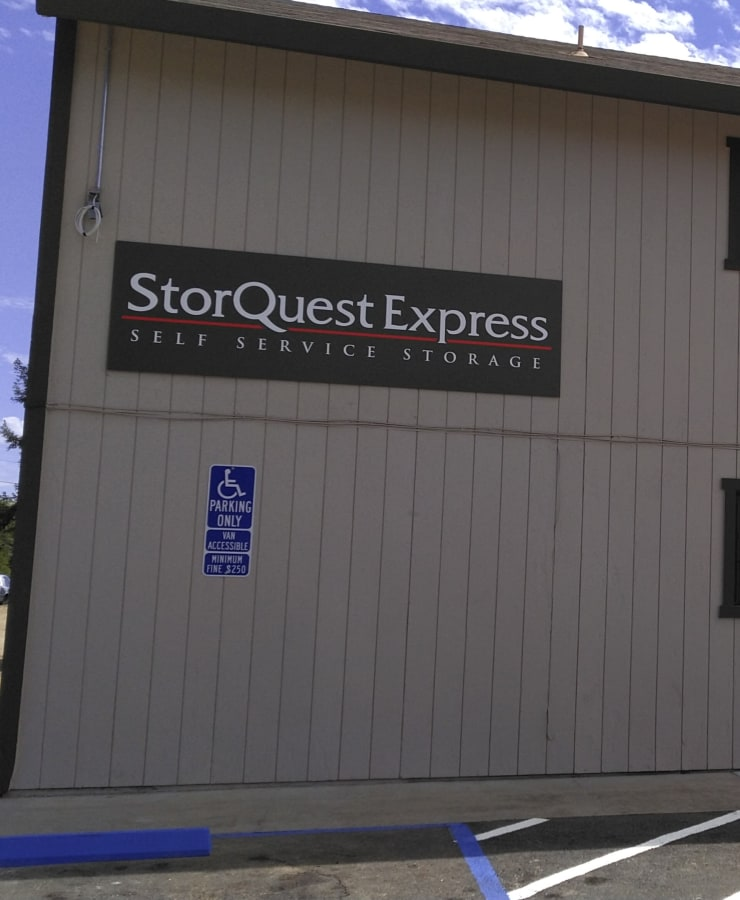 Branding and signage at StorQuest Express - Self Service Storage in Sacramento, California