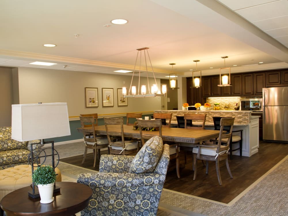 Community lounge with a kitchenette at Governor's Village in Mayfield Village, Ohio