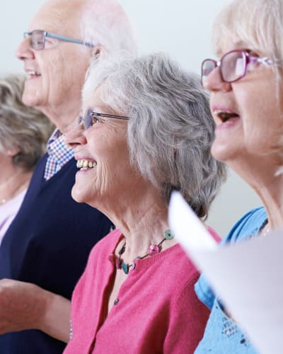 Residents singing in a group at Garden Place Millstadt in Millstadt, Illinois.