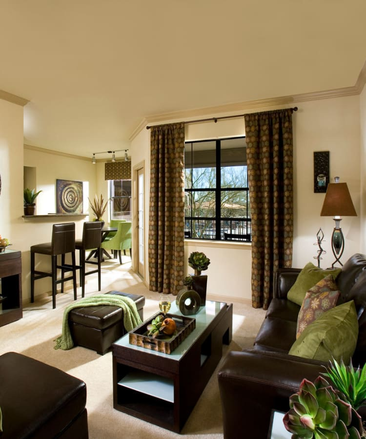 Cozy living room with natural light at Las Colinas at Black Canyon in Phoenix