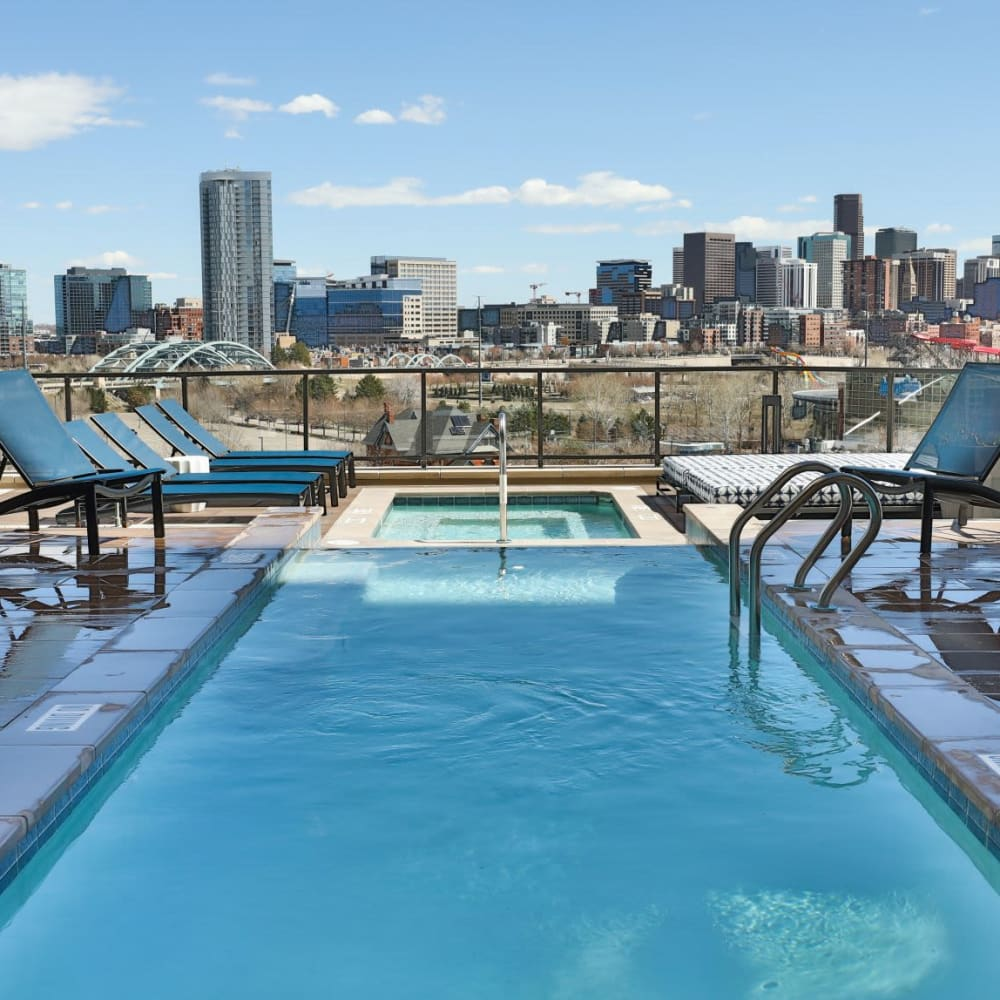 The Alcott offers a Beautiful Swimming Pool & Hot Tub w/ Downtown Skyline Views in Denver, Colorado