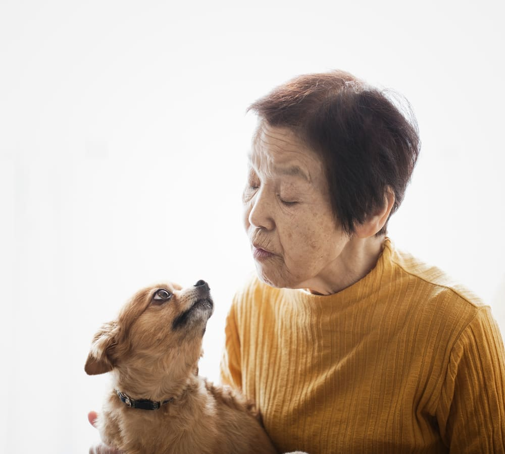 Resident and her dog at Holden of Bellevue in Bellevue, Washington.