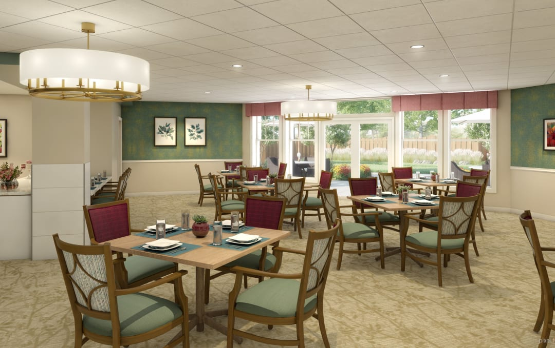 Community dining area at Anthology of Farmington Hills in Farmington Hills, Michigan
