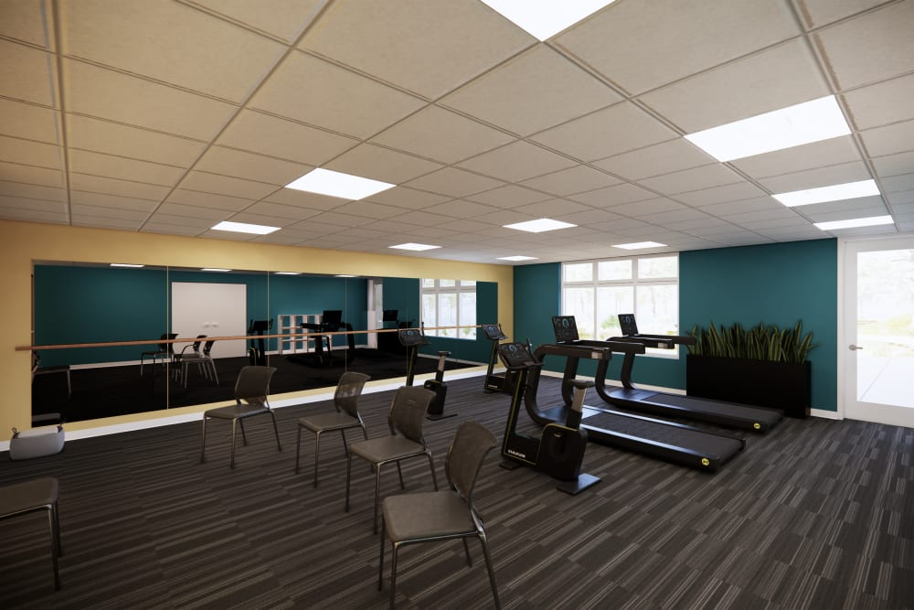Fitness center at Broadwell Senior Living in Plymouth, Minnesota