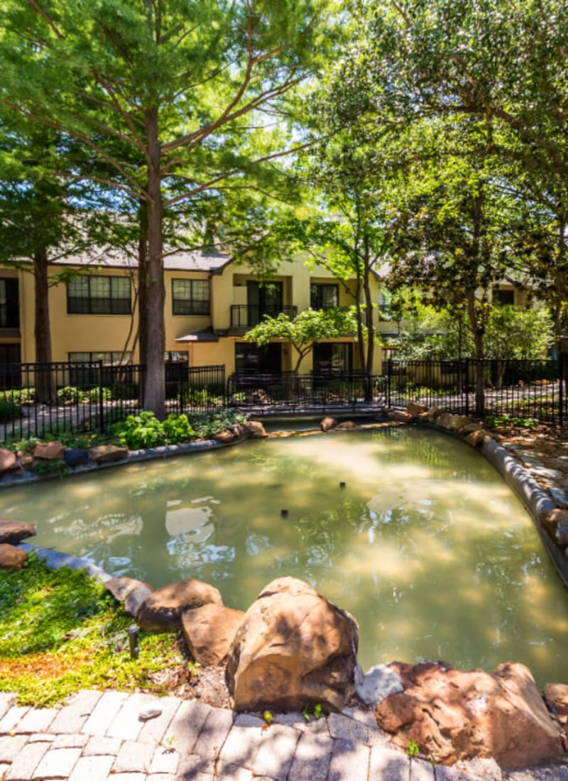 Water feature pond under lush trees at Marquis at Waterview in Richardson, Texas
