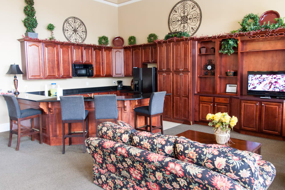 A clubhouse with a community kitchen at Peine Lakes in Wentzville, Missouri