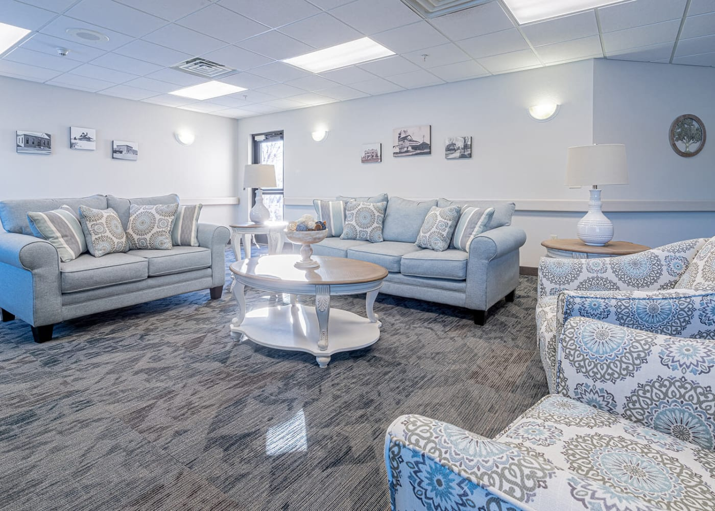 Cozy, inviting lounge at Traditions of Owatonna in Owatonna, Minnesota.
