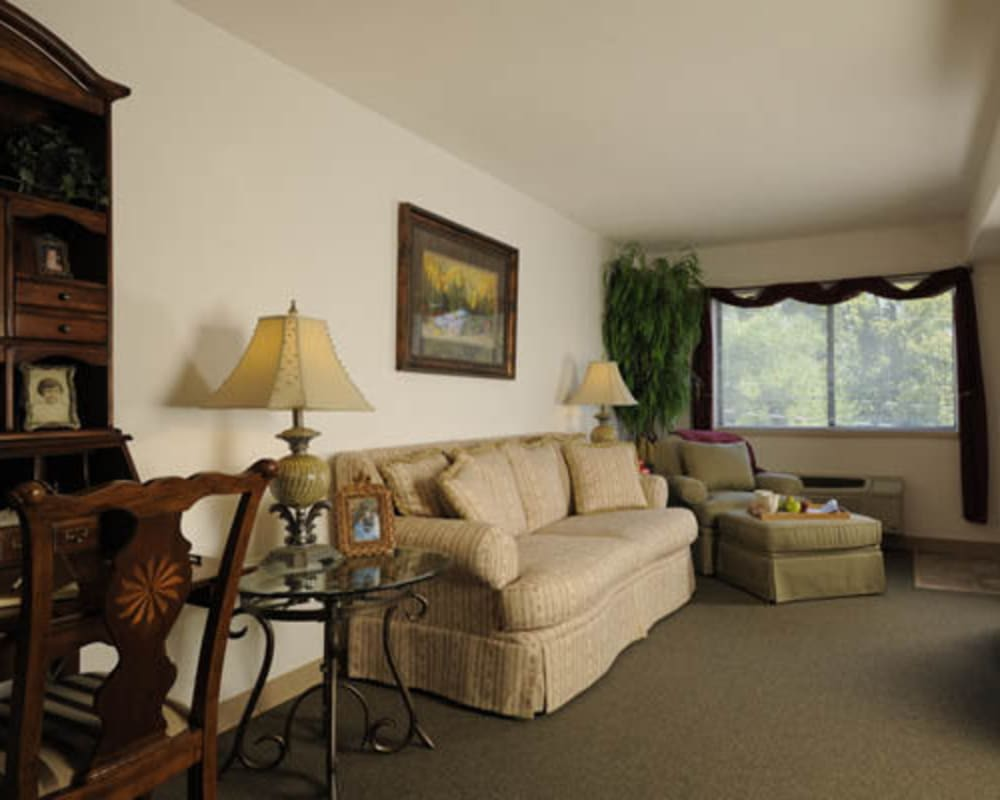 Spacious floor plans with a full living room at Willow Creek Senior Living in Elizabethtown, Kentucky.