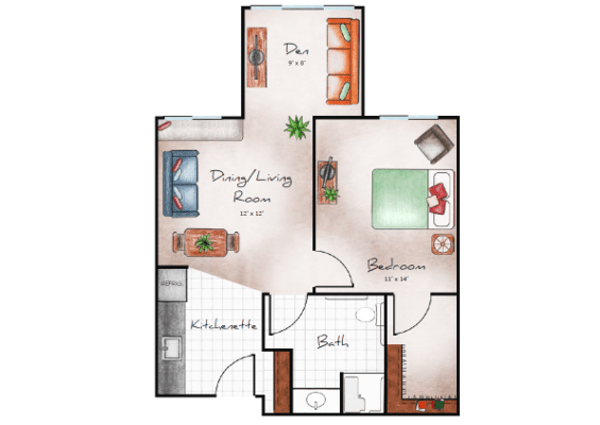 Assisted Living 1 bedroom with den at Orchard Pointe at Terrazza