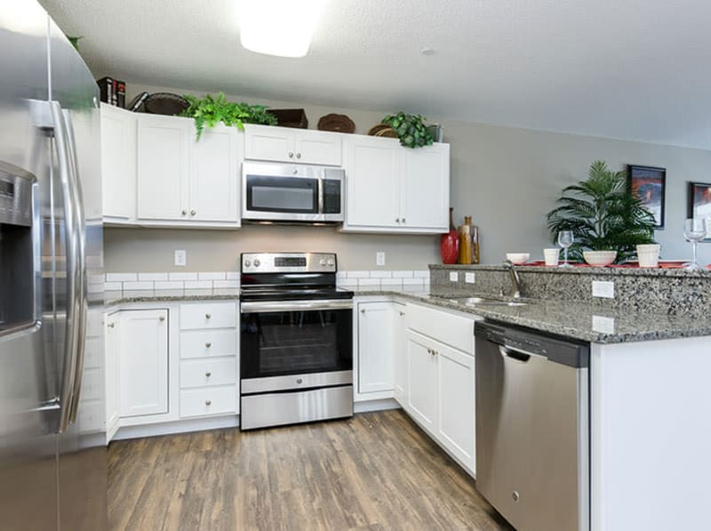 A modern kitchen with upgraded appliances at The Landing of Clinton in Clinton, Iowa