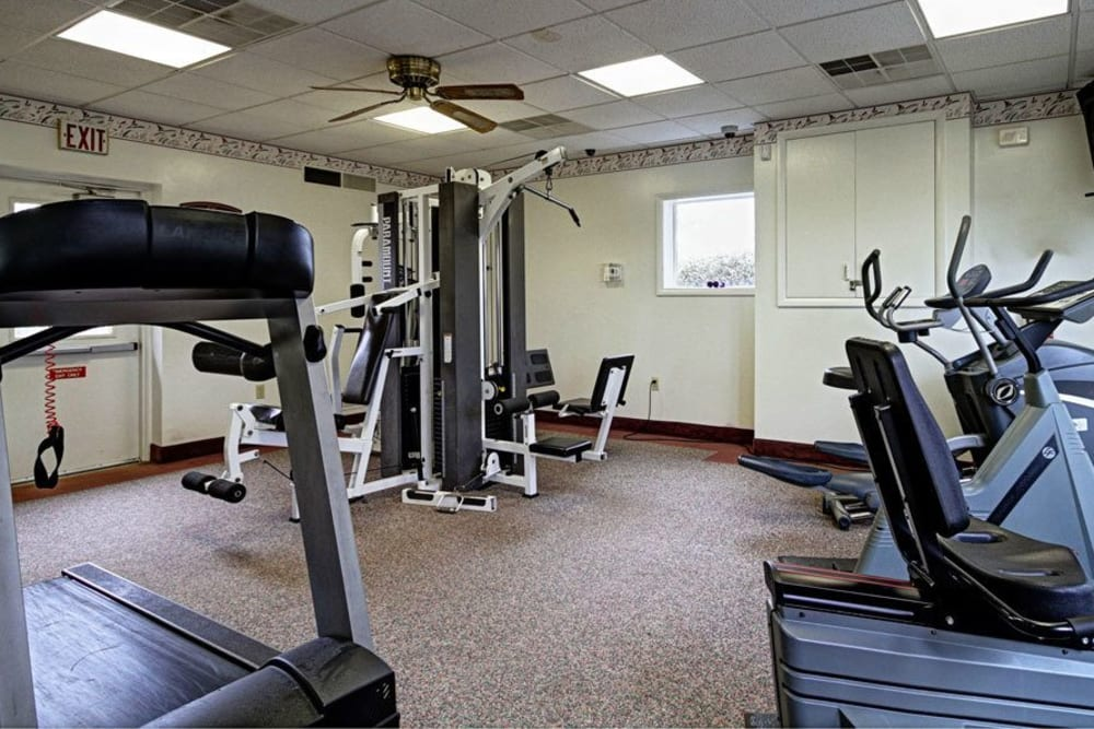 Spacious fitness center at King's Manor Apartments in Harrisburg, Pennsylvania