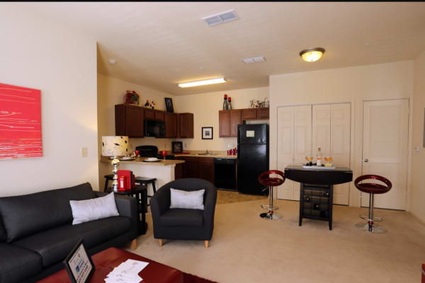 Living room and kitchen at Woodside in Mobile, Alabama