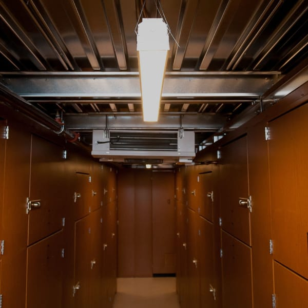 Motion-activated lighting at Collection 55 Cellars in Redwood City, California