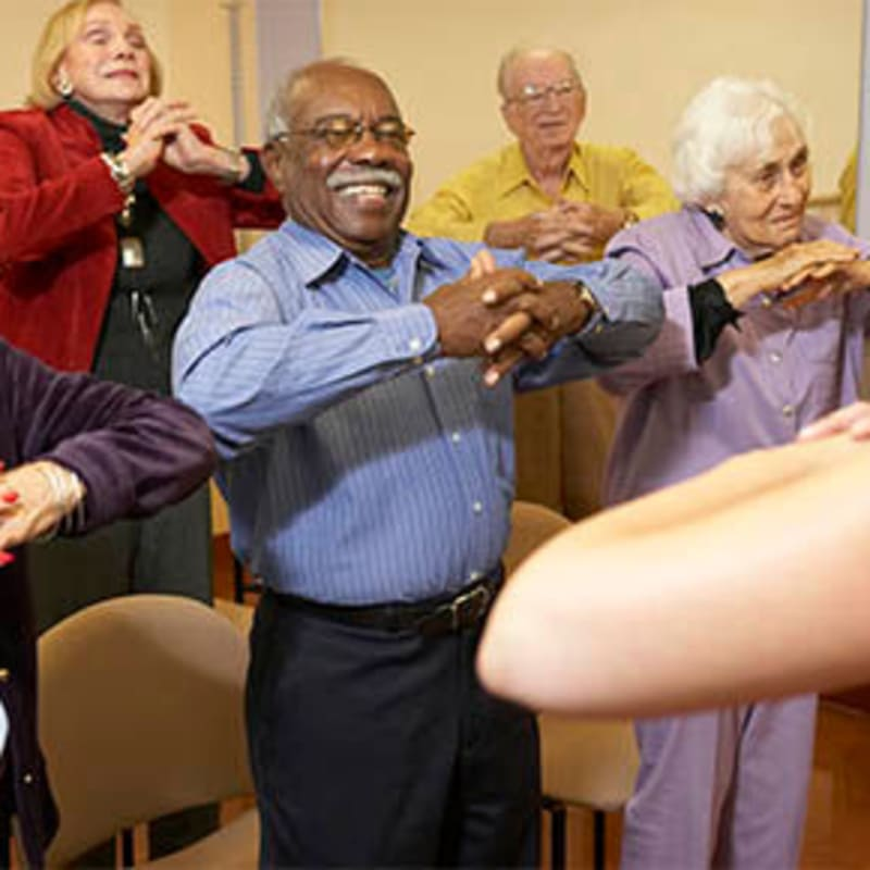 Exercise class at Peninsula Reflections in Colma, California