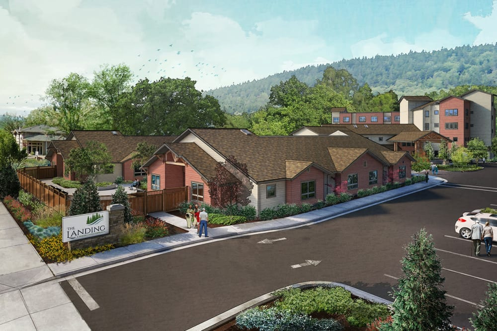 2nd exterior rendering of The Landing a Senior Living Community in Roseburg, Oregon