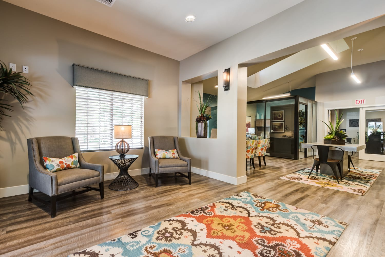 Well decorated living area at Sierra Heights Apartments in Rancho Cucamonga, California