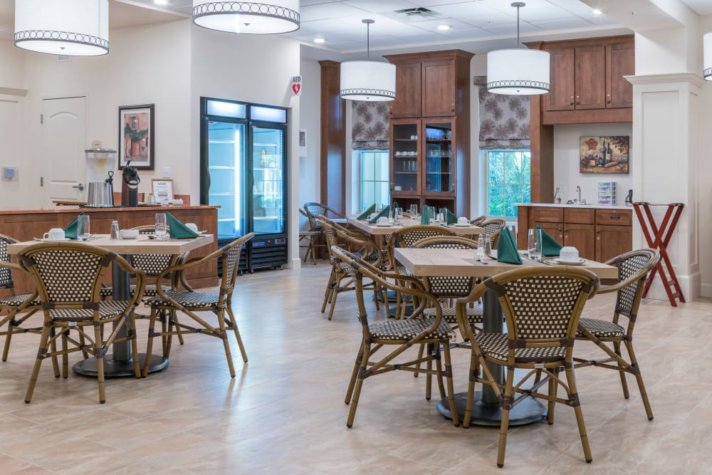 Dining room at Merrill Gardens at ChampionsGate in ChampionsGate, Florida.