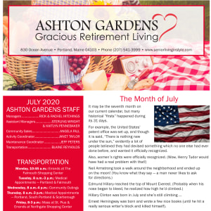 July newsletter at Ashton Gardens Gracious Retirement Living in Portland, Maine