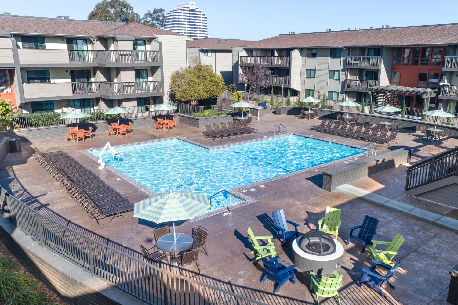 Harbor Cove Apartments offer a swimming pool in Foster City, California