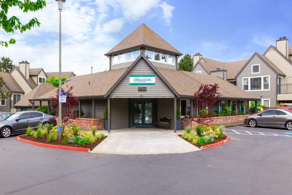 Leasing center entrance at Meadows at Cascade Park Apartments in Vancouver, Washington