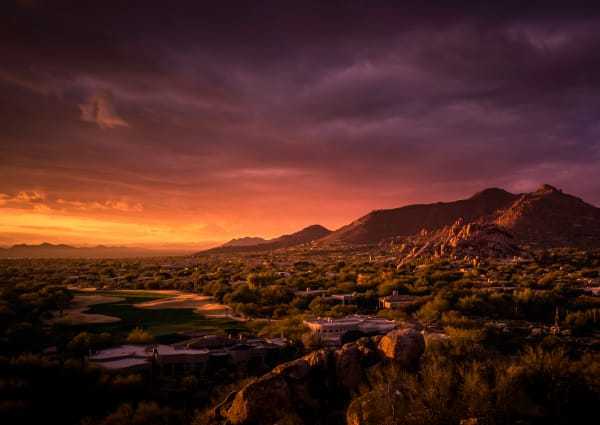 Gorgeous sunset view of the landscape near TerraLane at Canyon Trails in Goodyear, Arizona