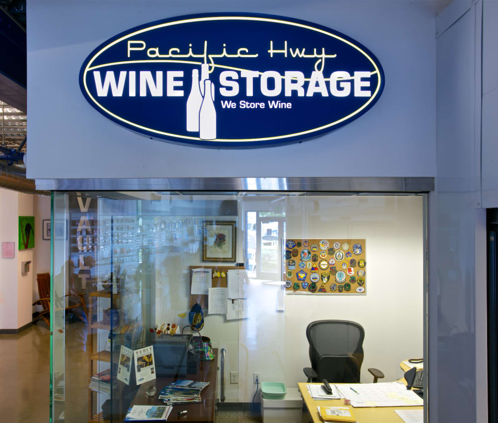 A sign for the wine storage offered at Pacific Highway Storage in San Diego, California