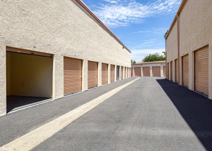 A driveway between storage units at San Marcos Mini Storage in San Marcos, California