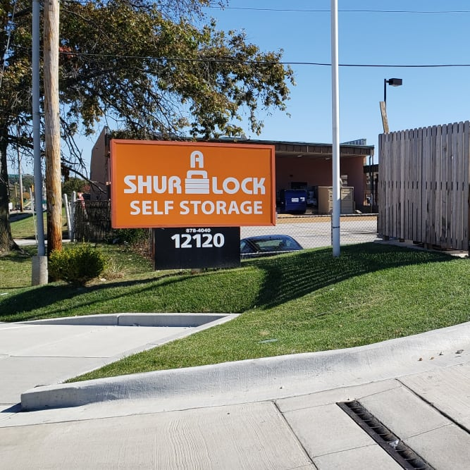 Street side sign at A Shur-Lock Self Storage in Maryland Heights, Missouri
