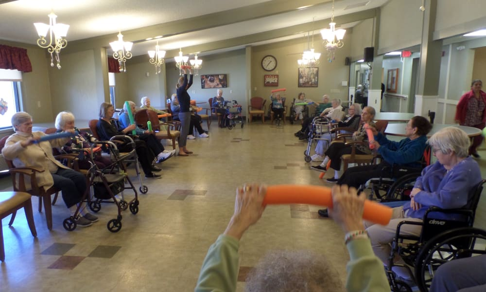 Seniors exercising at Cardinal Village in Sewell, New Jersey
