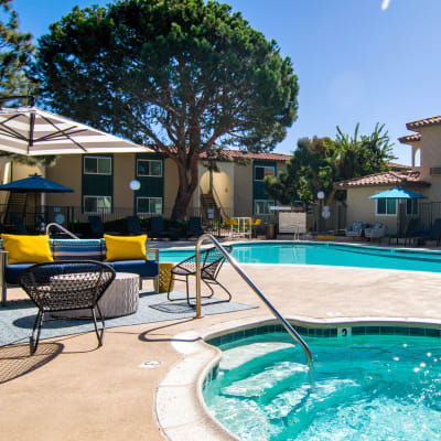 Swimming pool and spa area for residents to enjoy at Veranda La Mesa in La Mesa, California