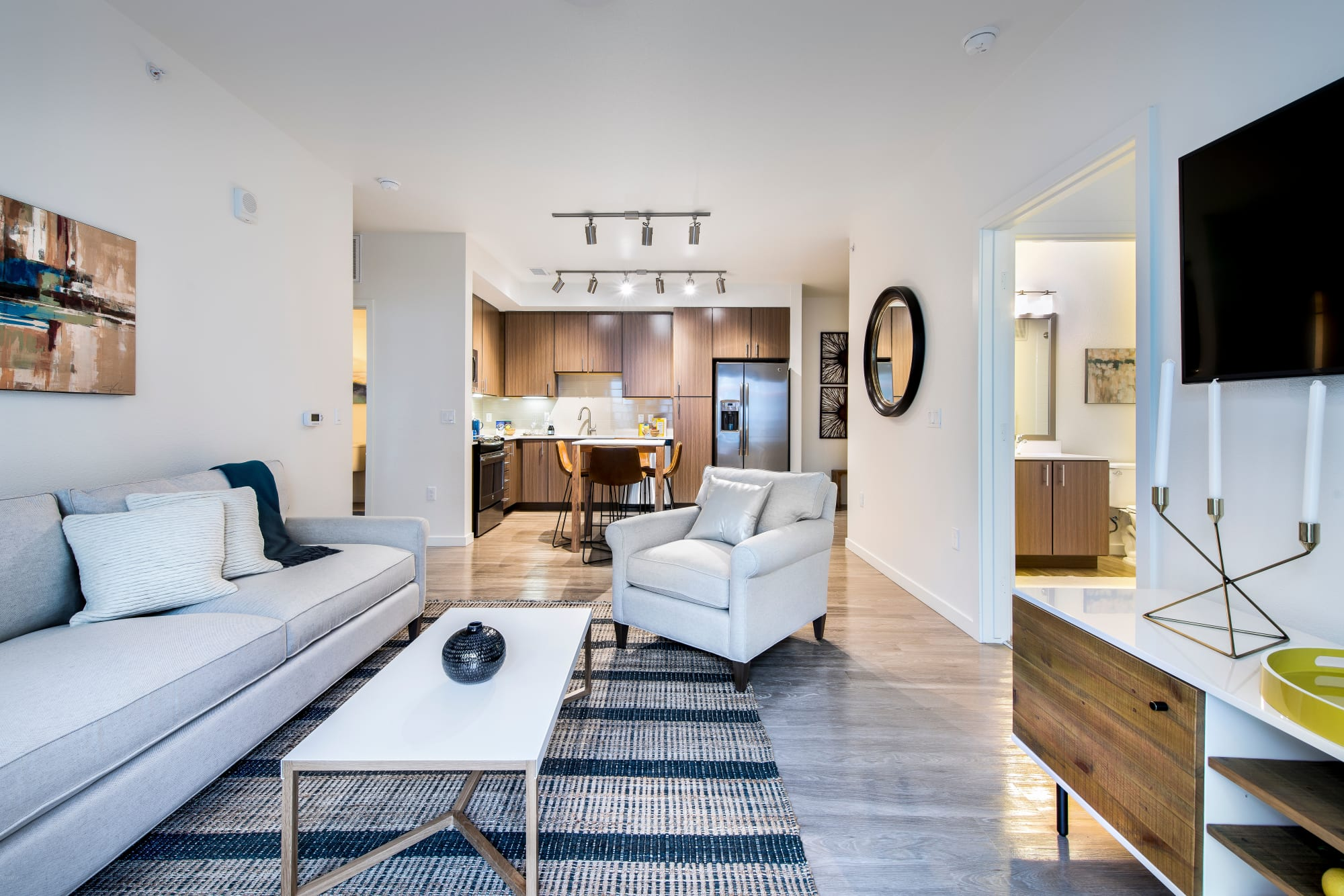 A stylishly furnished apartment at Elevate in Englewood, Colorado