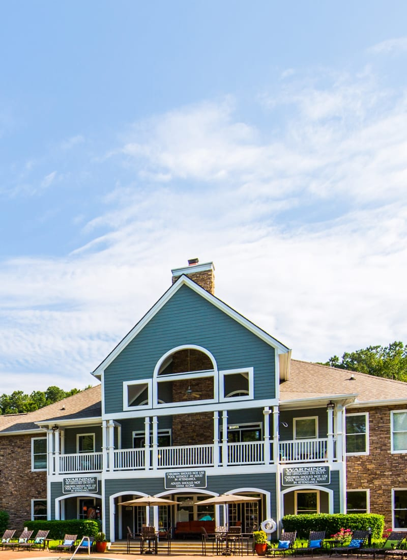 Exterior of the clubhouse at Marquis on Edwards Mill in Raleigh, North Carolina