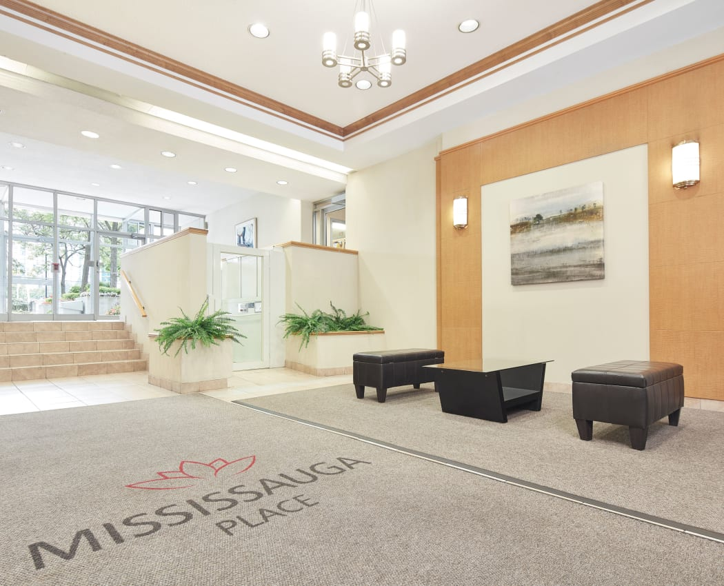 Interior of the entryway at Mississauga Place in Mississauga, Ontario
