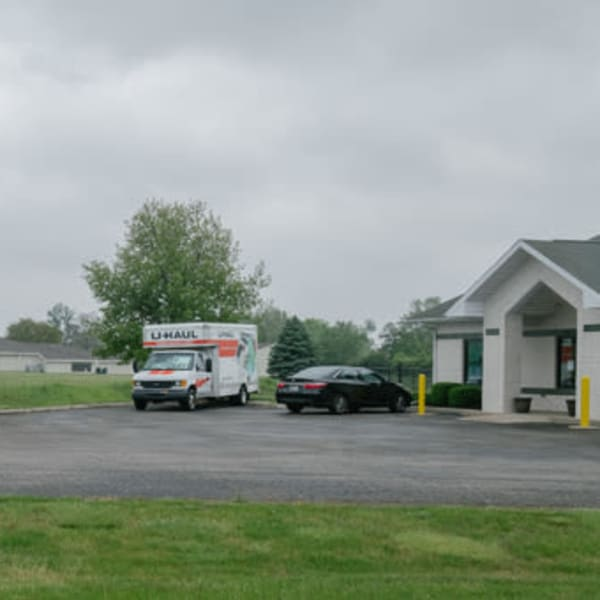 A U-Haul truck parked in front of StayLock Storage in Muncie, Indiana