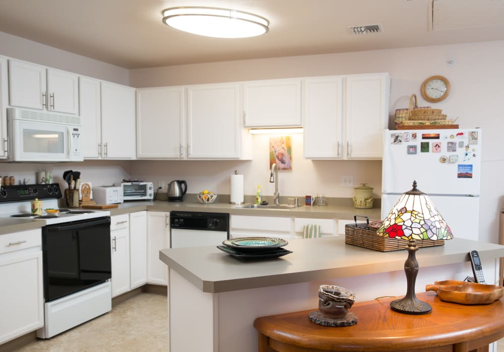 A kitchen in an apartment at Touchmark on Saddle Drive in Helena, Montana