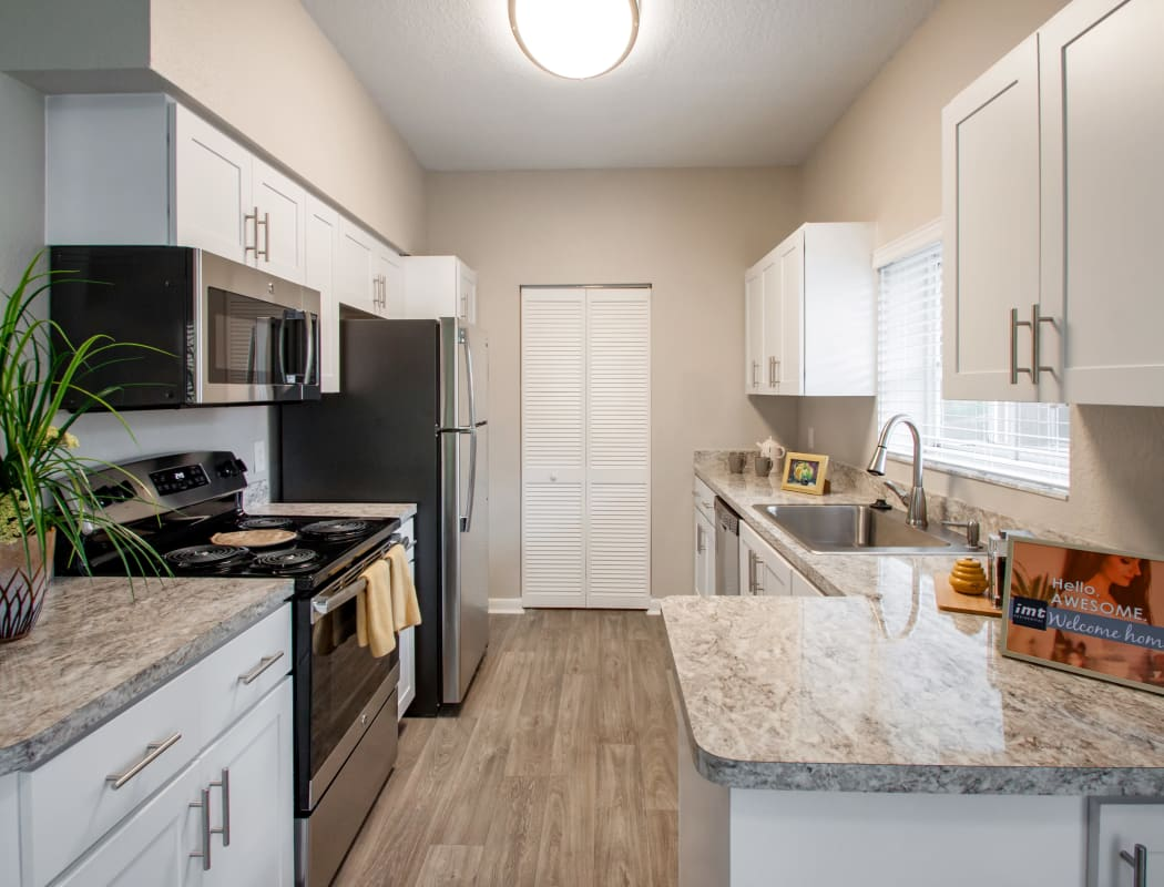 Model kitchen at IMT Pinebrook Pointe in Margate, Florida