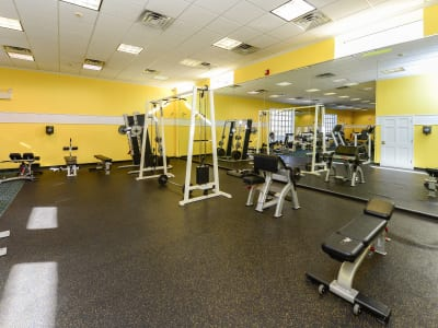 Fitness center at apartments in Collingswood, New Jersey