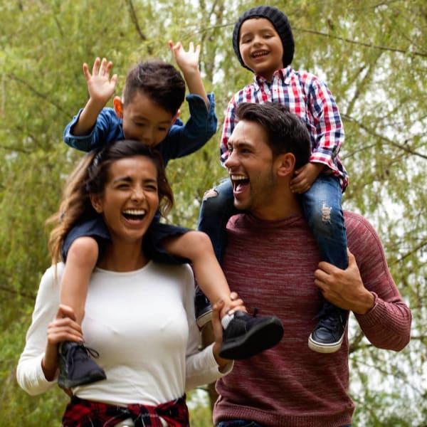 Resident family having a blast on a hike near Olympus Auburn Lakes in Spring, Texas