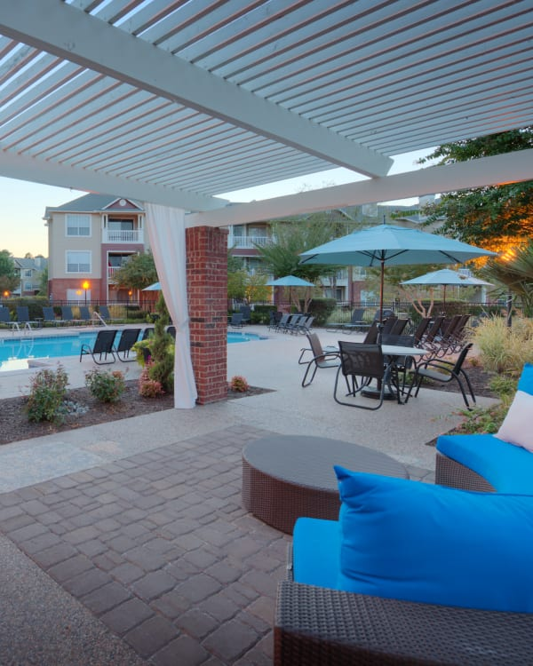 Patio and swimming pool at Preston View in Morrisville, North Carolina