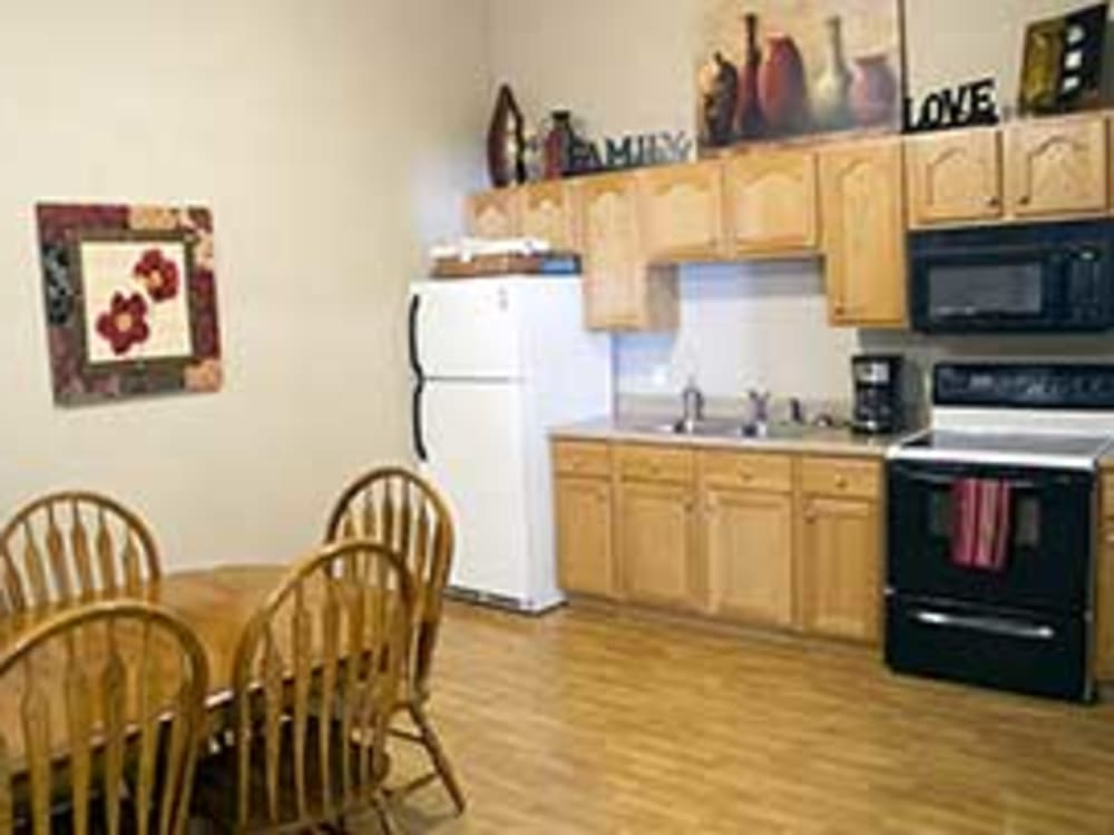 Resident kitchen at Garden Place Millstadt in Millstadt, Illinois.