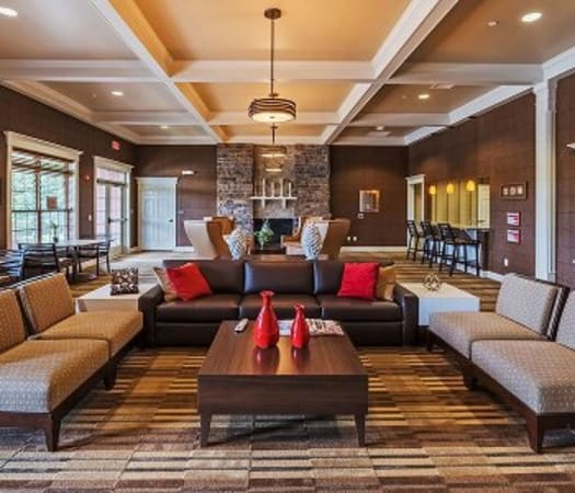 Cozy clubhouse lounge at Reserve at Southpointe in Canonsburg, Pennsylvania