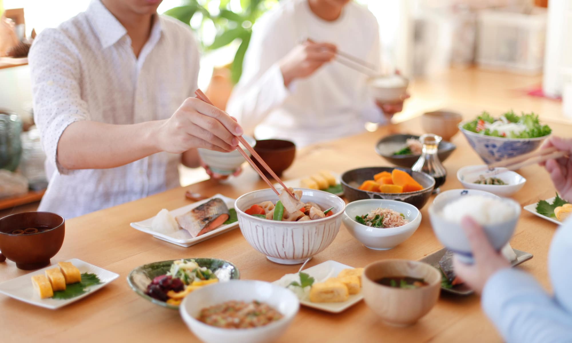 Family enjoying a Japanese style meal at Parkview Development in Burnaby, British Columbia