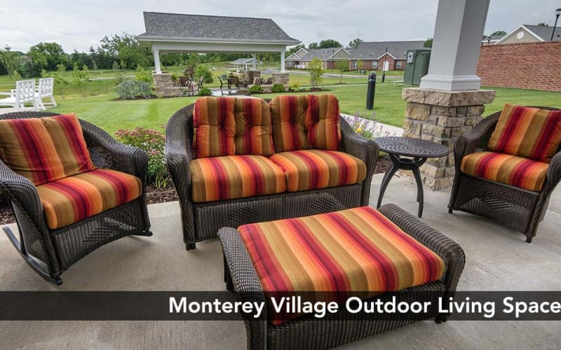 Outside view on the Patio at Monterey Village Senior Living in Lawrence, Kansas