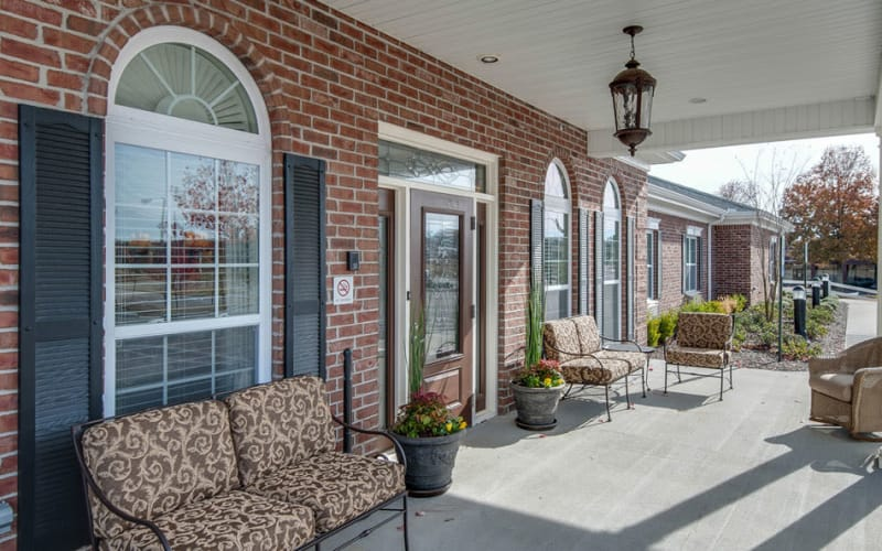 Front porch with chairs at South Breeze Senior Living in Memphis, Tennessee