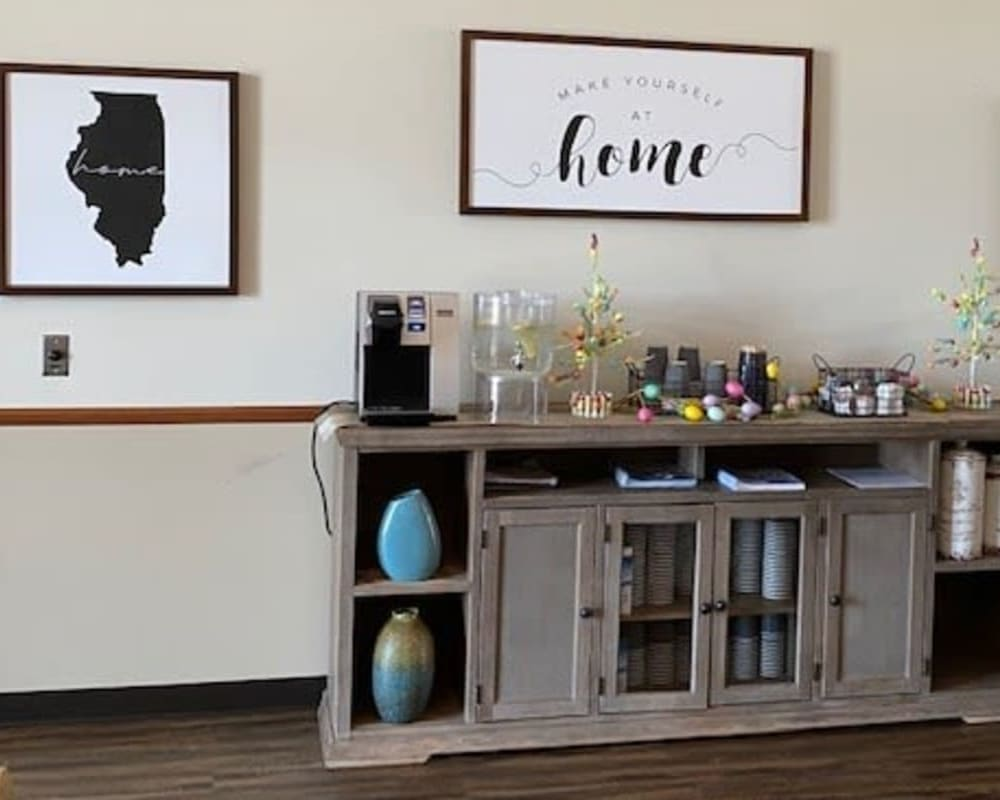 Resident coffee station and art display at Liberty Court in Dixon, Illinois.