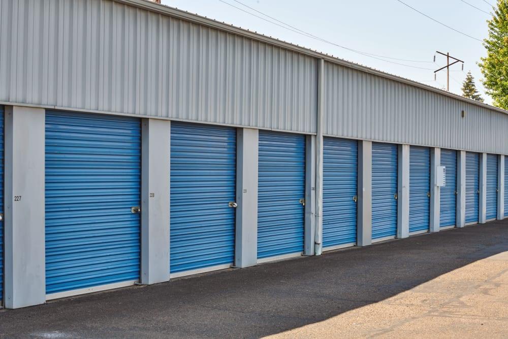 Blue doors on storage units at Sherlock Self Storage in Wilsonville, Oregon